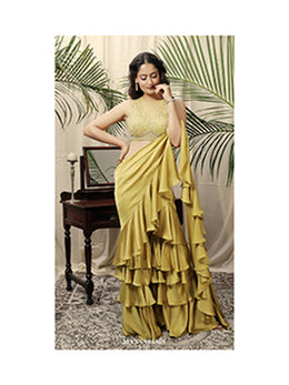 Lime Green Draped Saree with Chantilly Blouse