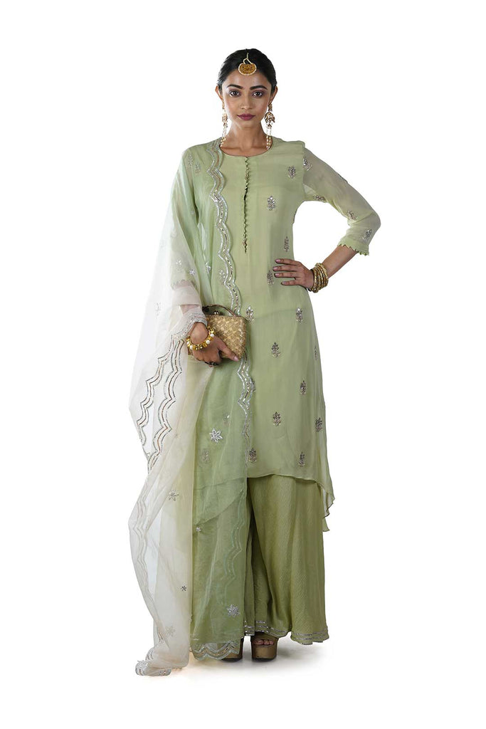Green High Low Kurta with Sharara and Dupatta