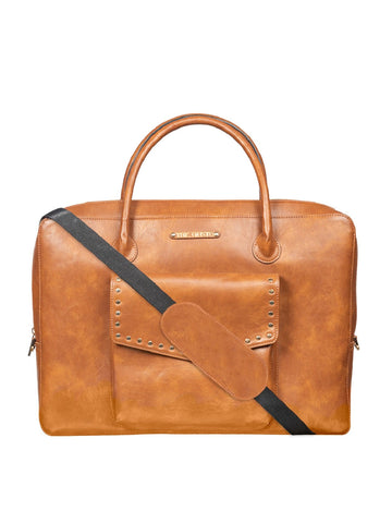 Orange Colour-Block Laptop Bag With Shoulder Strap