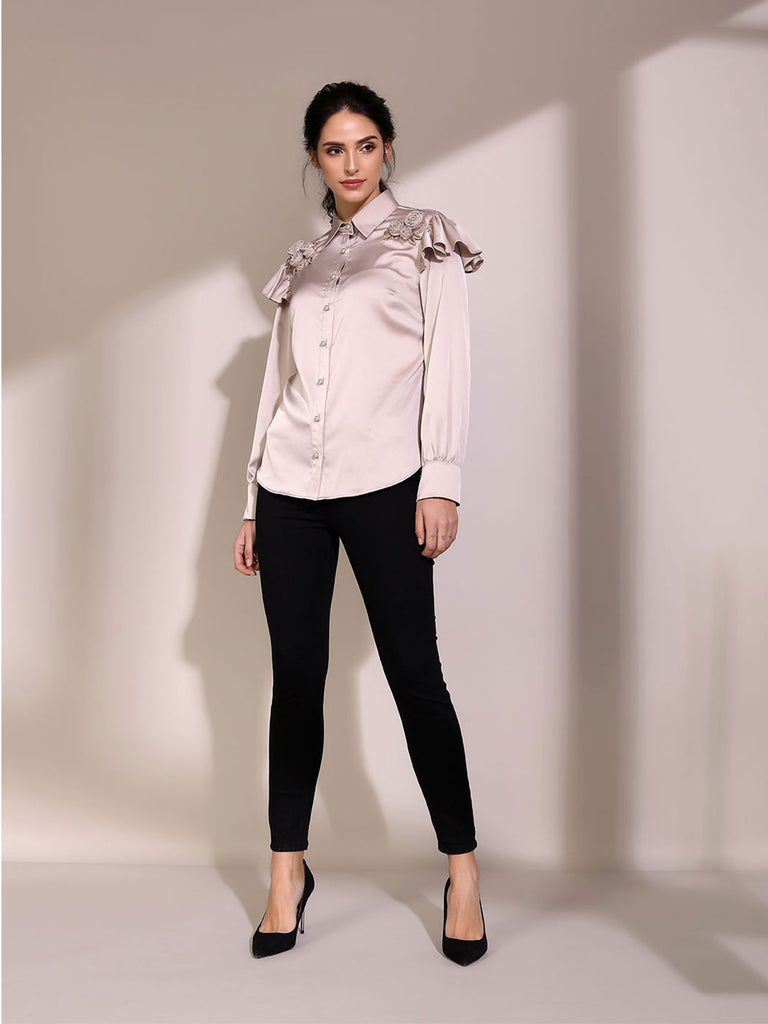 Smokey Taupe Shirt With Ruffle Shoulder Detail