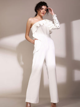 White Ruffle One Shoulder Jumpsuit With Embellished Sleeve