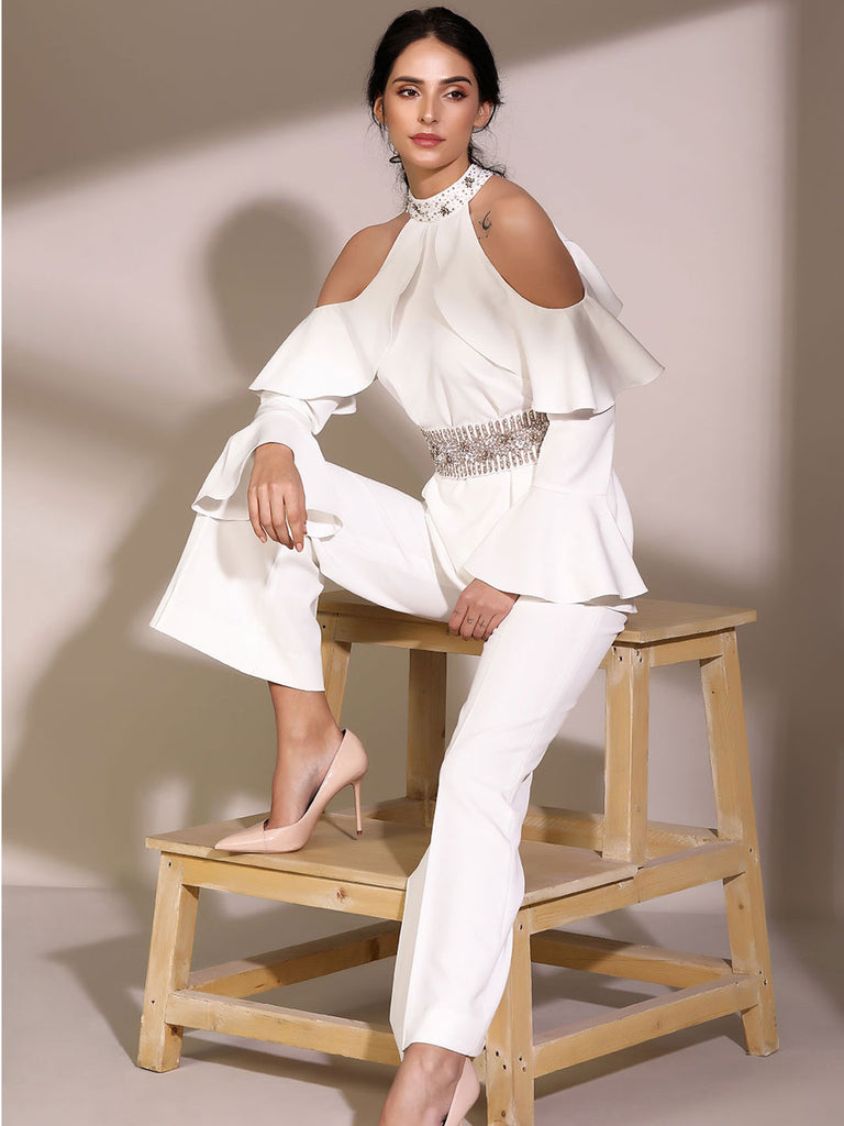 White Cold Shoulder Set With Flared Pants