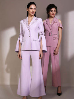 Lilac Blazer with Bell Sleeves and Flared Pants