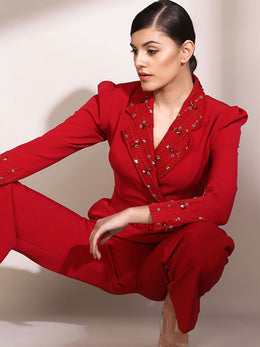 Crimson Red Blazer Jumpsuit