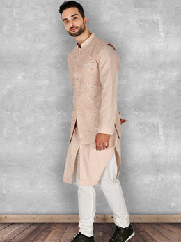 Dusty Rose Lucknowi Embroidered Nehru Jacket