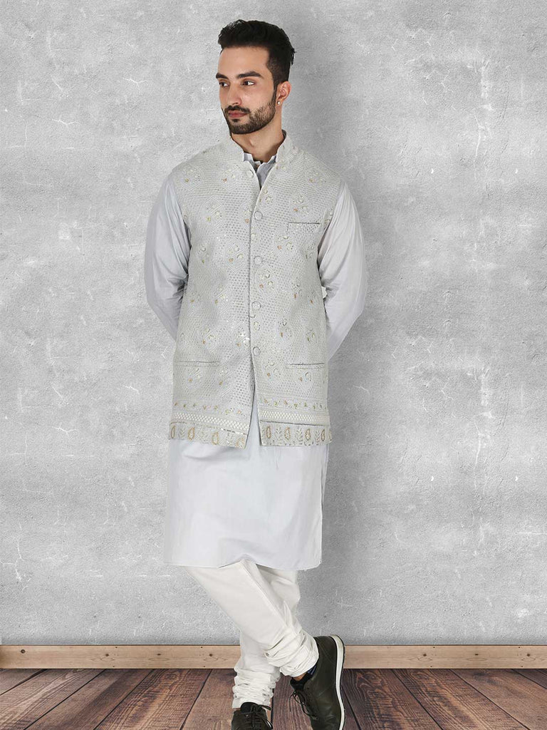 Tonal Grey Lucknowi Nehru Jacket