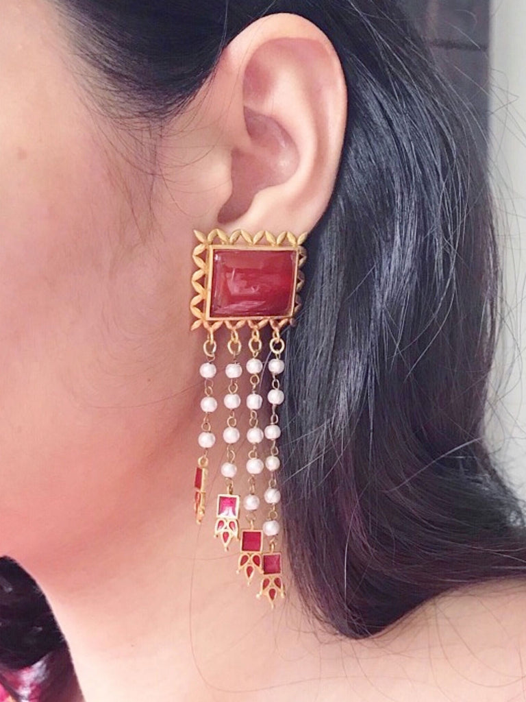 Gold Plated Earrings with Pearl Drops