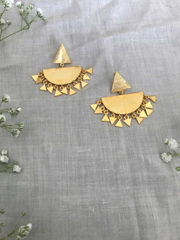 Gold Plated Semi Circle Shaped Drop Earrings