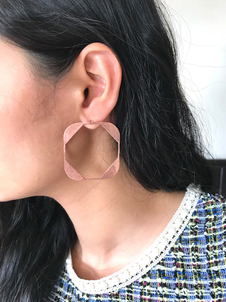 Rose Gold Plated Square Shaped Drop Earrings