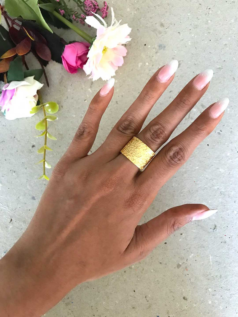 Gold Plated Textured Ring