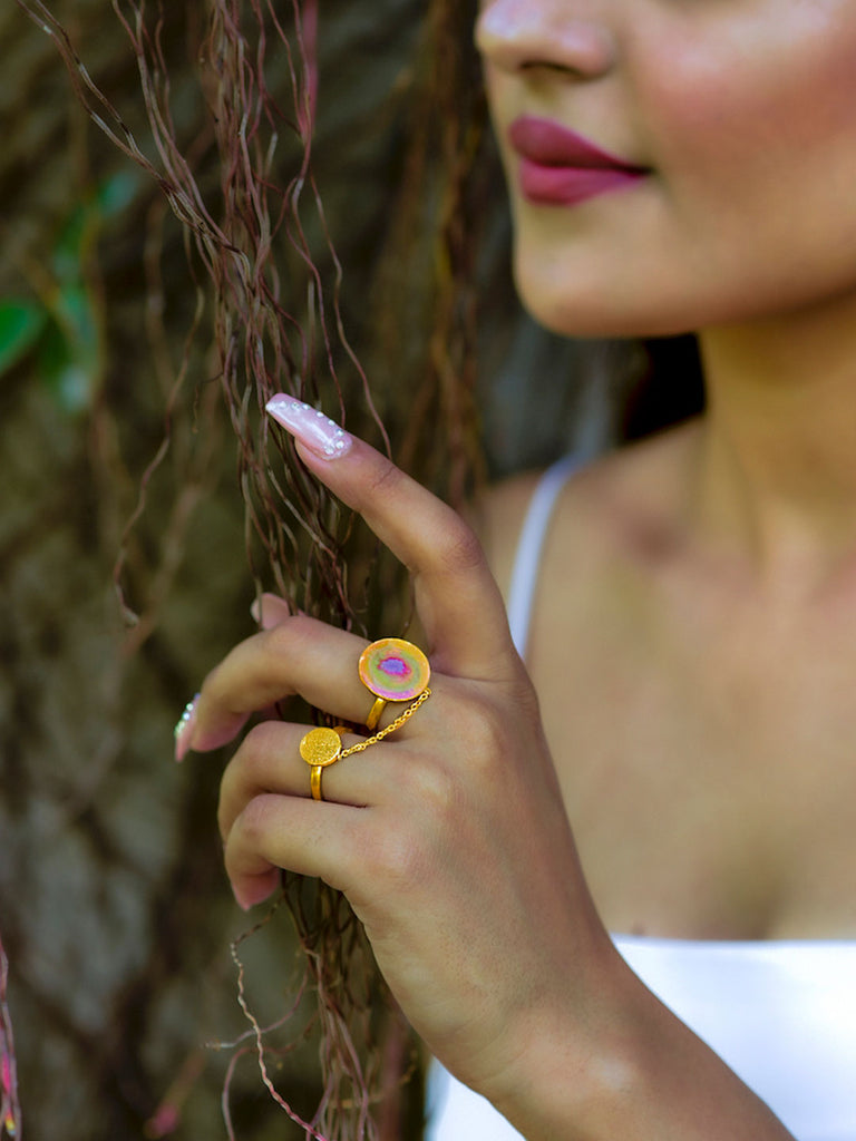 Gold Plated Circular Multicoloured Ring