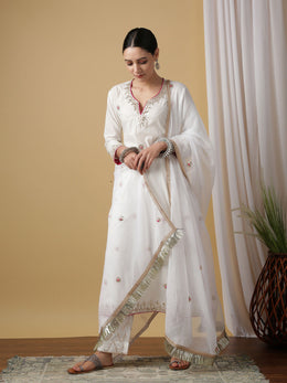 White Mira Shwet Cotton Kurta Set with Dupatta