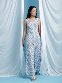Florencia White Cotton Printed Jumpsuit