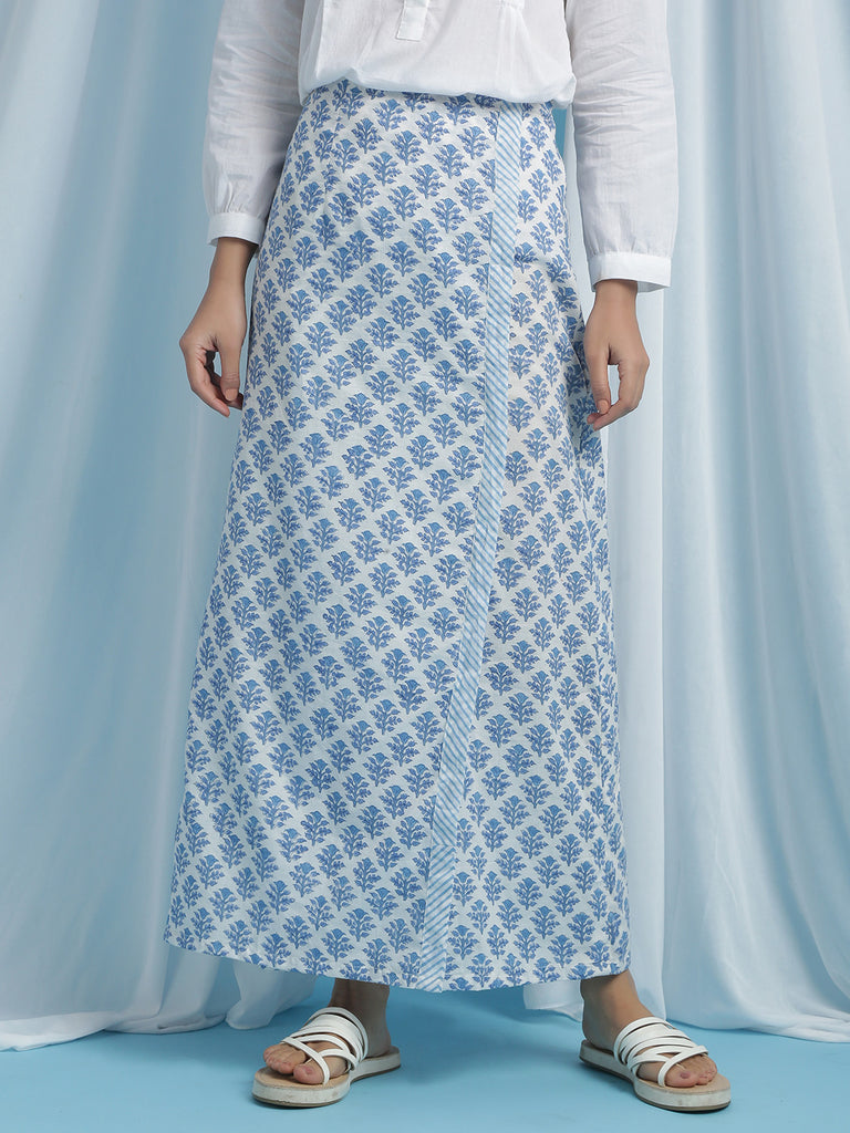 Hand Block Printed Florencia Cotton Blue Skirt