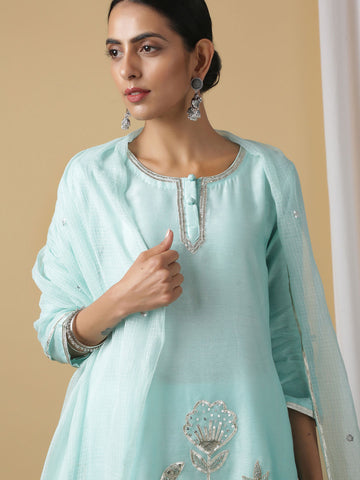 Sky Blue Mira Ambar Cotton Kurta Set with Dupatta