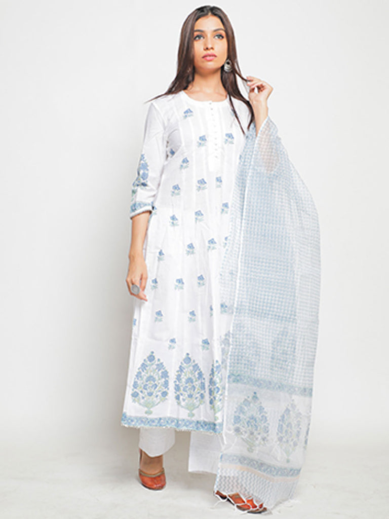 Neel Baagh Printed Cotton Kurta with Dupatta