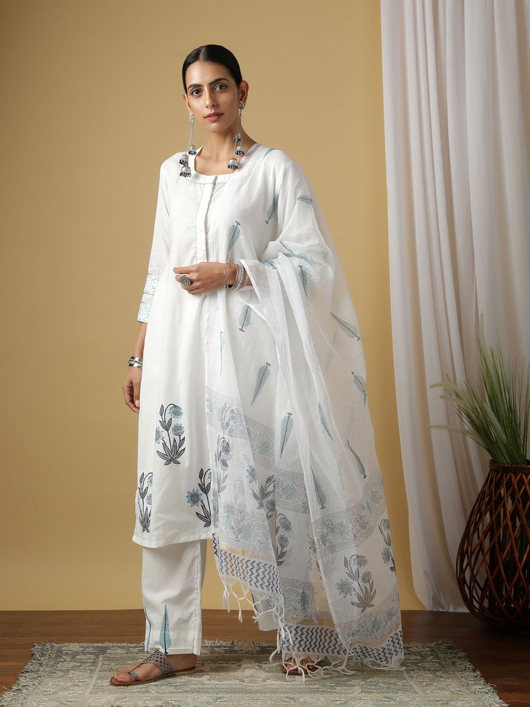 Ivory Surajmukhi Neel Cotton Kurta Set with Dupatta