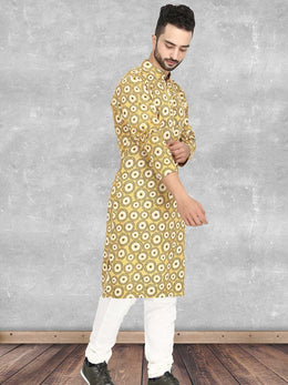 Sunset Yellow Mandala Print Kurta with Churidaar