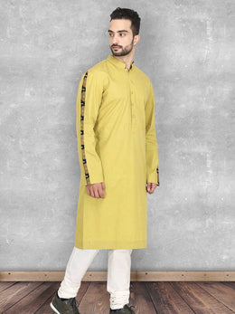 Mustard Oxford Cotton Kurta with Churidaar