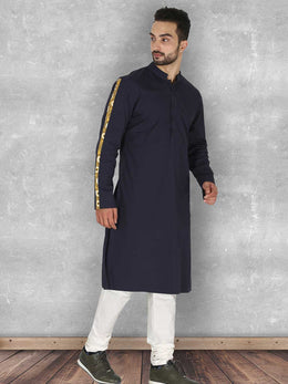 Deep Navy Blue Kurta with Churidaar
