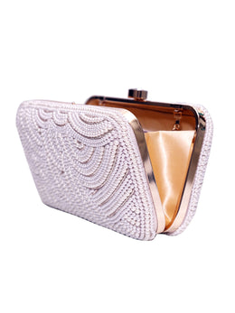 Statement Pearl Clutch with Gold Chain