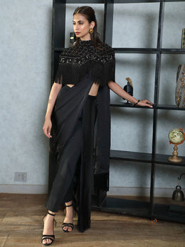 Indo-Western Saree Pants with Chikankari Cape