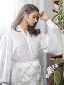 White Chikankari Shirt with Tasseled Pencil Skirt