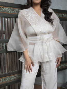 Pearl White Organza Wrap Jacket with Corset Belt