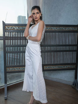 White Chikankari Flared Pants