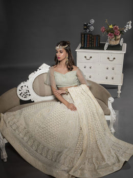 Chikankari Embroidered Lehenga with Wing Sleeved Blouse