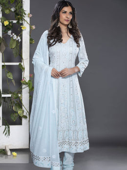 Blue Heavily Embroidered Anarkali