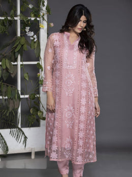 Blushing Rose Organza Kurta with Pants