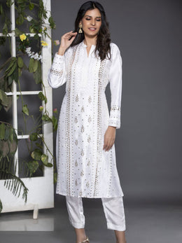 White Chikankari Raw Silk Kurta with Pants