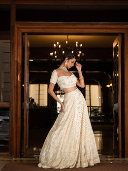 Ivory Chikankari Lehenga with Mukaish Work