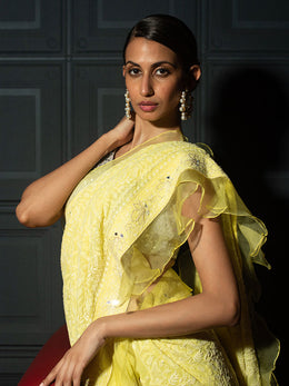 Lemon Yellow Ruffle Saree