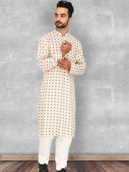 Geometric Print Off-white Kurta with Churidaar