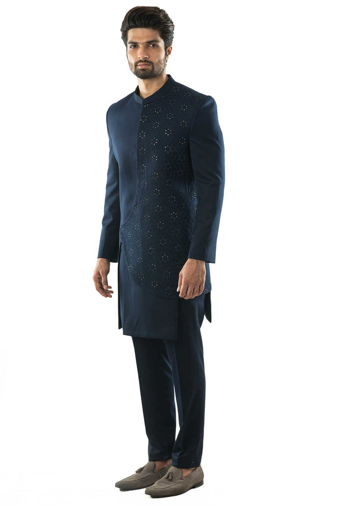 Navy Blue Assymetric Embroidered Achkan with Slim Fit Trousers