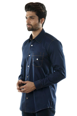 Navy Casual Shirt with Coral Stitch Lines