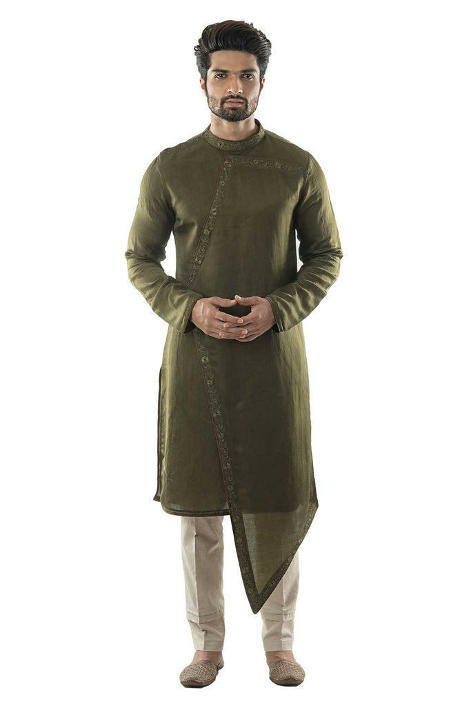 Olive Green Asymmetric Embroidered Kurta Set
