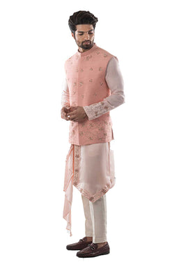 Pearl Pink Embroidered Nehru Jacket