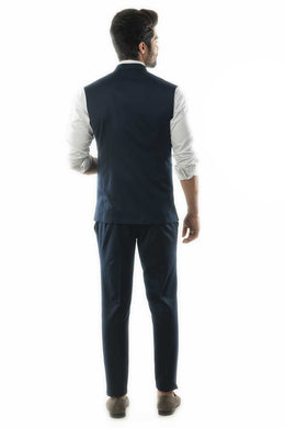 Navy Blue Nehru Jacket with Cord Piping Detail