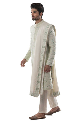 Mint Green Embroidered Sherwani with Cream Dupatta and Churidar