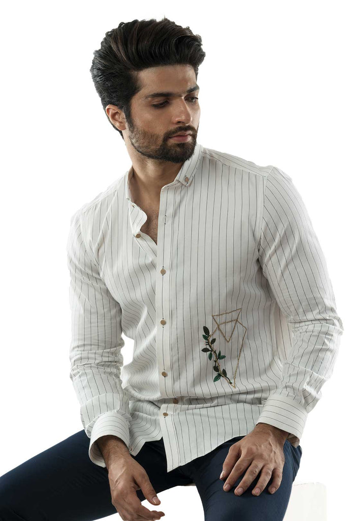 White Striped Shirt with Embroidered Geometrical Motif