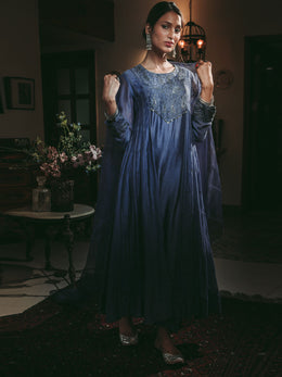 Sapphire Blue Kurta with Exquisite Zardozi Embroidery