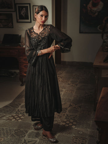 Black Sheer Chanderi Kurta Set