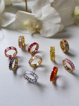 18K Gold Plated Multi Colour Eternity Ring