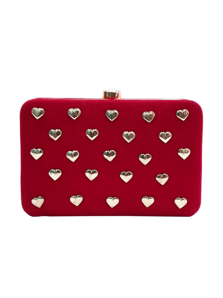 Statement Red Velvet with Gold Heart Studs Clutch