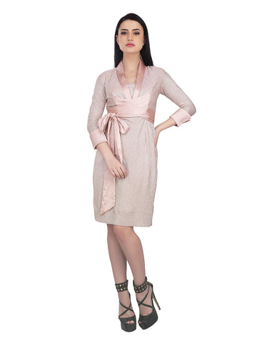 Pastel Pink Dress with Cuffed Sleeves