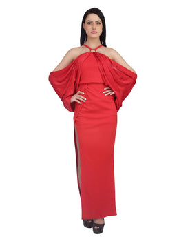 Red Off Shoulder Gown