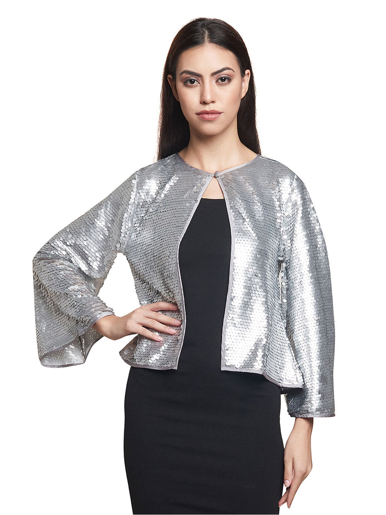 Black Dress with Silver Sequined Jacket